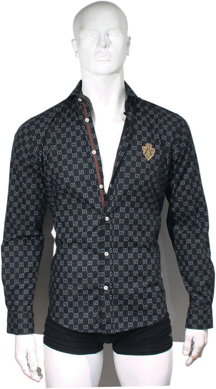 Black color new gg monogram design men gucci dress shirt m for Initials on dress shirts