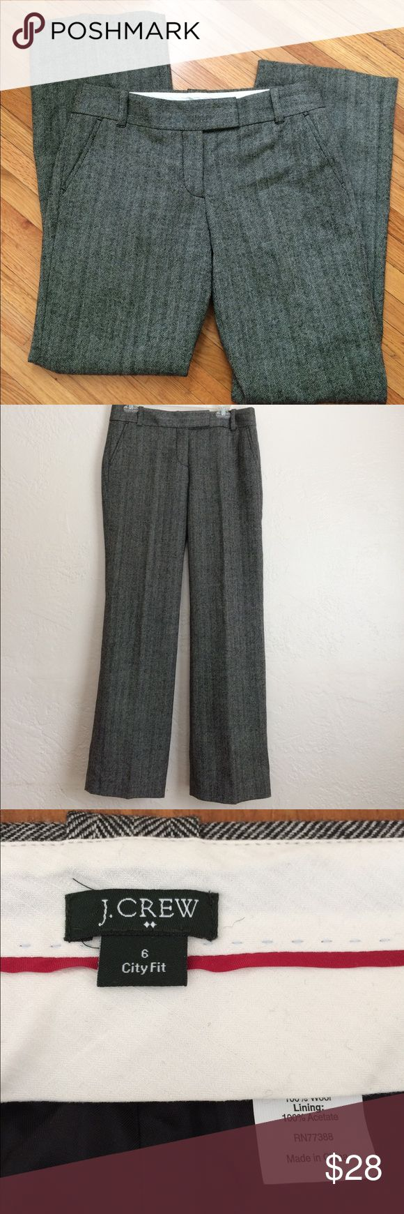 """J.Crew herring bone lined wool city fit NWOT Medium rise city fit with flared leg, side pockets, belt loops, button back pockets.  Nice and warm 100% wool with acetate lining.  Dry clean.  Measurements:  waist 33"""", front rise 9"""", back rise 15"""", across thigh 12"""", inseam 32"""". J. Crew Pants Trousers"""