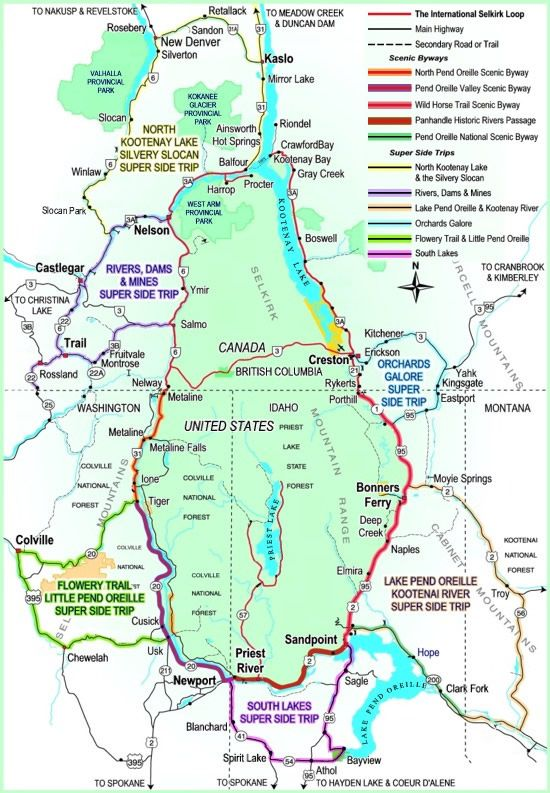 International Selkirk Loop: Washington, Idaho, and BC.