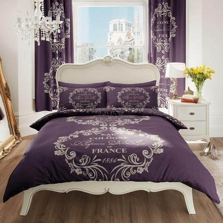Gaveno Cavailia Script Purple Duvet Cover and Pillowcase Set