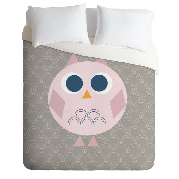 Vy La Geo Owl Solo Pink Duvet Cover | DENY Designs Home Accessories
