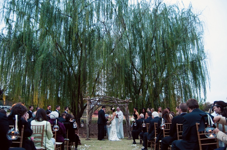 Early November Outdoor Wedding, Piedmont Garden Tent Photo by Leah & Mark
