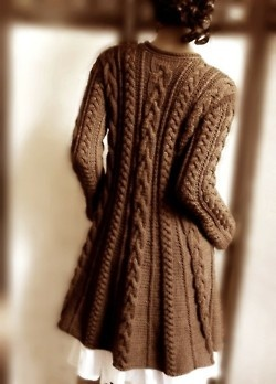 Chocolate brown, hand knitted, cabled A-line coat in pure wool via Pilland. Gorgeous!!
