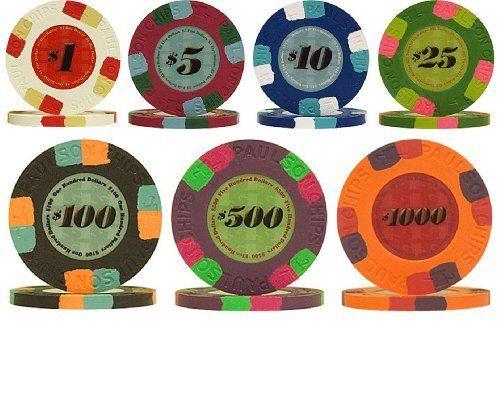Genuine Paulson Full Clay 10g Poker Chip Sample Set - 7 New Chips by Paulson…