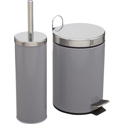 Colourmatch bin and brush set smoke grey at homebase for Bathroom bin set