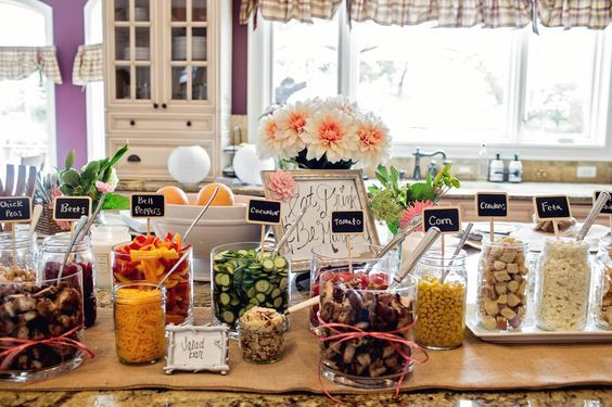 Dashing dish salad bar for bridal shower luncheon => http://www.sarahrobbins.com/bridal-shower-by-katie-farrell-of-dashing-dish-and-sarah-robbins-of-team-rockin-robbins/