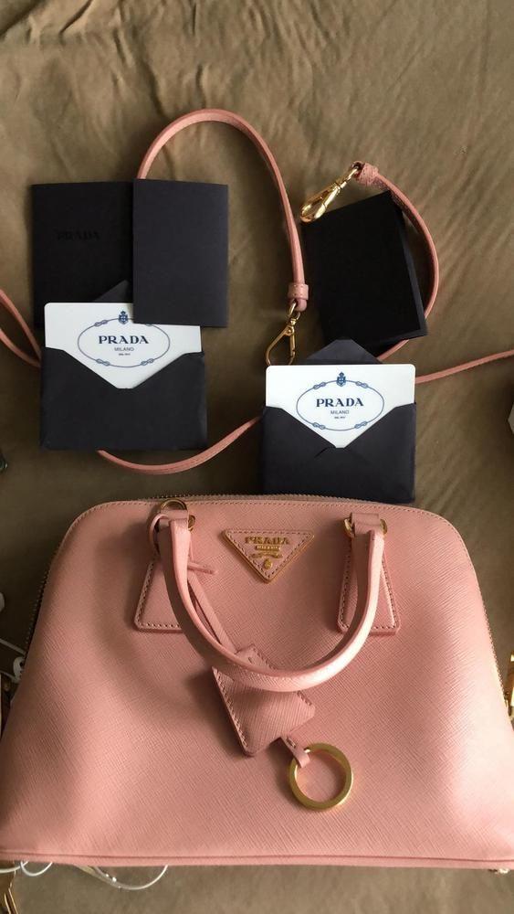8fa5478a1f10 PRADA Mini Promenade Saffiano Lux Crossbody Pink Leather Handbag Double Zip   fashion  clothing