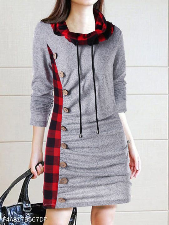 51060db8a6 Cowl Neck Decorative Button Plaid Shift Dress #berrylook #winter #fall  #fashion #trends #styles #winter #clothes #fashionista ,berrylook clothing  ...