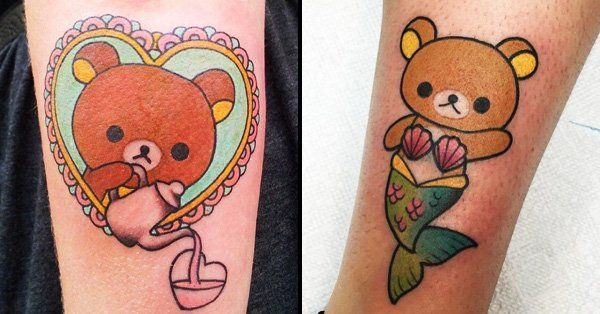 He's the cutest little bear in the world, and whether he's a mermaid or in space you're gonna love these Rilakkuma tattoos that are so kawaii you'll die!!