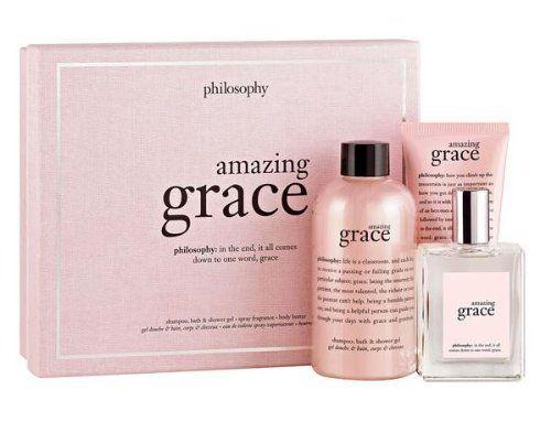 Philosophy Amazing Grace Fragrance 3-Piece Gift Set: Amazing grace spray fragrance 2 oz + perfumed shampoo, bath & shower gel 8 oz + perfumed body butter 2 oz by Philosophy. $69.95. perfumed shampoo, bath & shower gel 8 oz/ 240 ml. perfumed body butter 2 oz / 60 ml. amazing grace spray fragrance 2 oz/ 60 ml. Philosophy Amazing Grace Fragrance 3-Piece Gift Set. New in box. Philosophy Amazing Grace Fragrance 3-Piece Gift Set