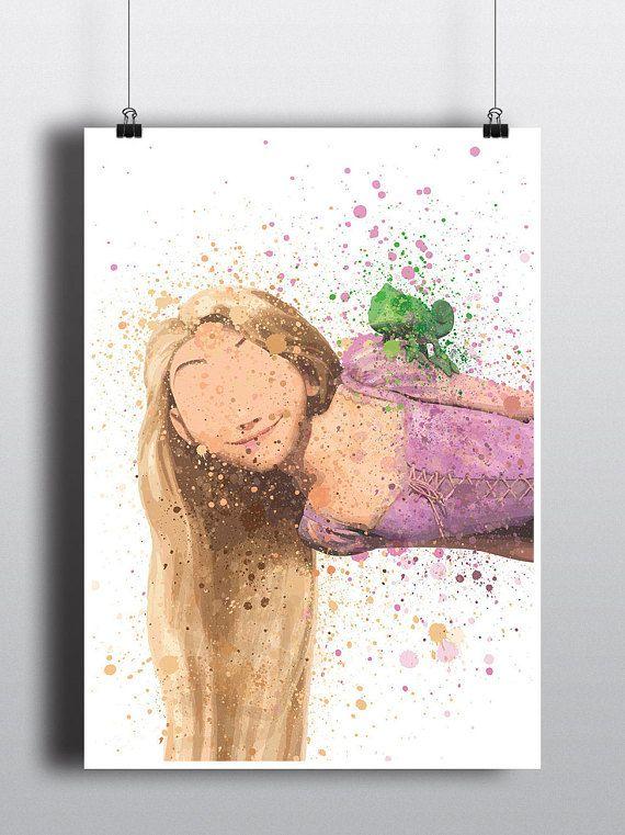 Tangled Poster Print- Rapunzel & Pascal   Watercolour   A2 Size-Resizable   Digital Download   Disney   Minimalist