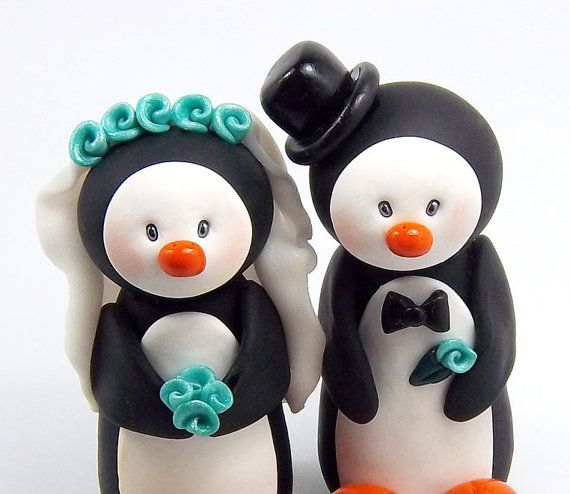 Penguin cake topper for $54 on Etsy... This will be on my wedding cake! Or something like this