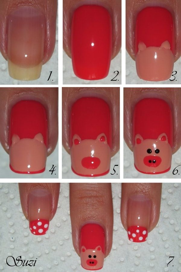 15 Amazing And Useful Nail Tutorials Including Bunies, Monkies, Owls, Santa, Swirled, Cabaret, Cherries, Cats. Lots of good stuff! PIGGES