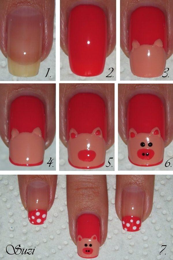 15 Amazing And Useful Nails Tutorials, DIY Piggy Nail Design