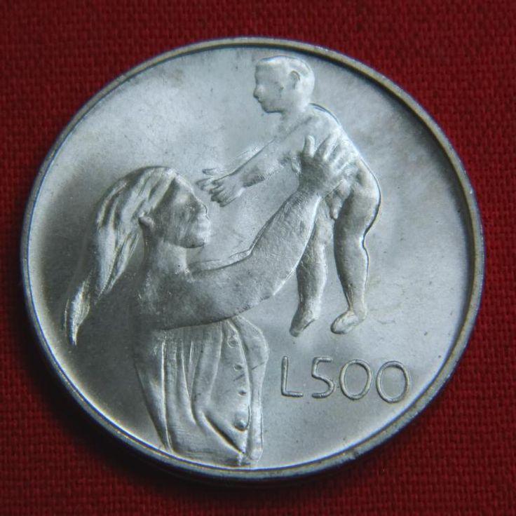 Идеальные 500 лир Сан Марино 1972 BU дева и ребенок СЕРЕБРО Аукцион с Рубля