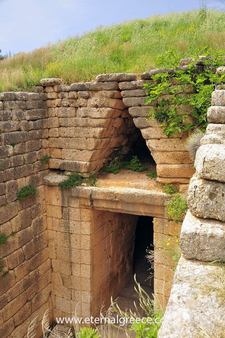 Detail of the 'Treasure of Atreus' beehive tomb, ancient Mycenae, Greece.    Check us out before you  book your next great vacation, you will love our ideas! Please visit us on  www.eternalgreece.com for inspiration, information, itinerary suggestions and  fabulous tour arrangements to #Greece.        #travel #holidays #vacations #archaeology #mythology #tours  #itineraries #holidays #culture #wine  #food #mythology #tours #itineraries #roadtrip #architecture #photography…