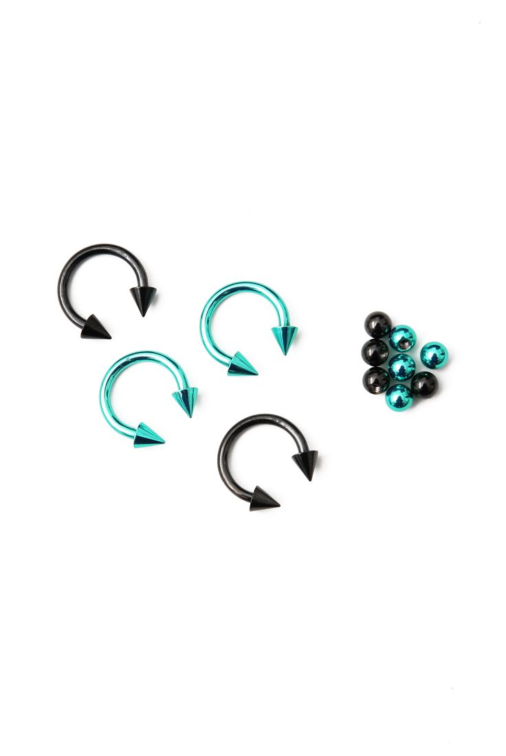 "These 316L surgical steel 3/8"" diameter circular barbells come in teal and black with interchangeable bead and spike studs."