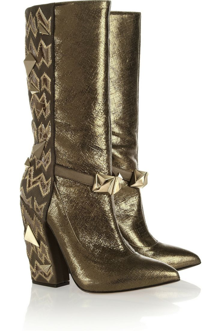 Studded textured-leather boots by Missoni