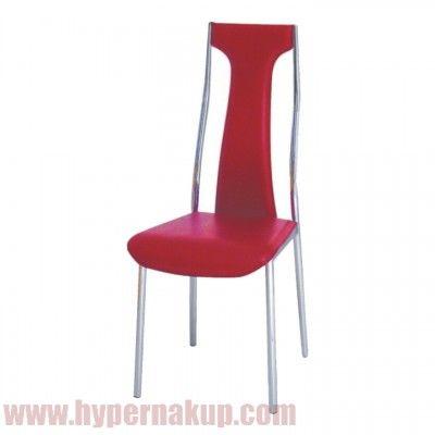 Luxusná chrómová stolička v kombinácii s ekokožou, vhodná do zasadačiek, jedálenských kútov a pod. Pevedenie:ekokoža červená,  Rozmery (ŠxHxV): 45x40x101 cm, Výška sedu: 44 cm. Dodávané v demonte.  Hmotnosť: 4 kg  LUXUSNÁ STOLIČKY RIA - IRIS ekokoža červená/chróm | PREDAJ | HYPERNAKUP.COM | CENA