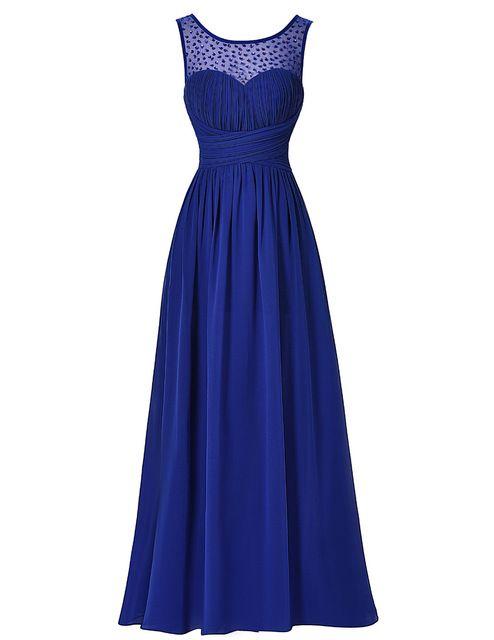 Elegante Longo Azul Royal Prom Dress 2017 Sexy Sem Mangas V de volta Vestido de Festa de Casamento Frisado Chiffon Ombre Vestido Maxi do baile de Finalistas vestidos