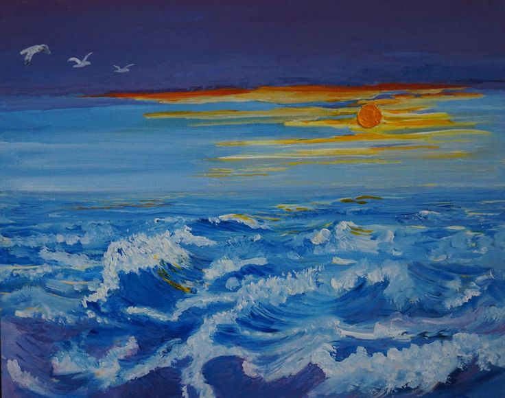Original painting by Janet Davies. Abstract canvas wall art. Wild waves in deep blue and white, gulls flying, bright orange sun and streaks of sunlight in the sky. modern, contemporary style.Hand painted and signed by artist. | eBay!