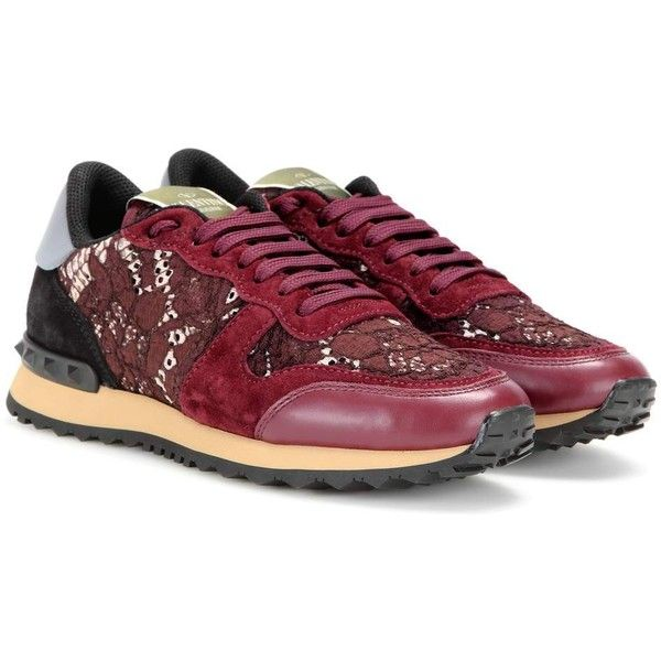 Valentino Valentino Garavani Rockrunner Lace, Leather and Suede... ($560) ❤ liked on Polyvore featuring shoes, sneakers, red, suede sneakers, leather shoes, red sneakers, lace sneakers and valentino trainers