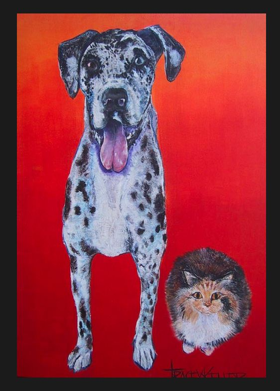 Vintage Tracey Keller Painting- Dalmatian and the Cat