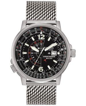 Citizen Men's Eco-Drive Nighthawk Stainless Steel Mesh Bracelet Watch 42mm BJ7008-51E