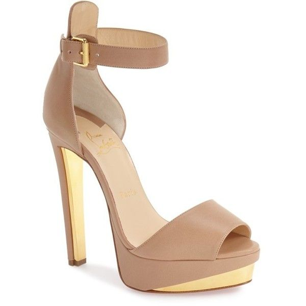 Women's Christian Louboutin 'Tuctopen' D'Orsay Platform Sandal ($1,095) ❤ liked on Polyvore featuring shoes, sandals, heels, louboutin, nude leather, peep toe platform sandals, high platform shoes, leather platform sandals, christian louboutin shoes and thick heel platform sandals