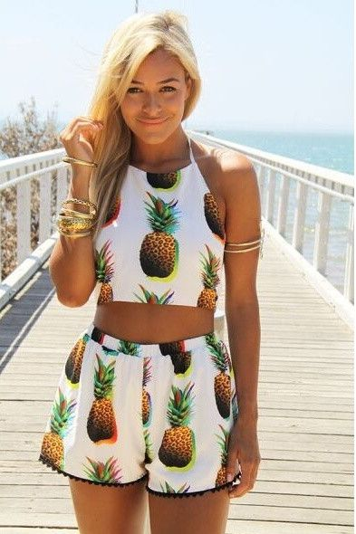 new style summer clothing two-piece dress pineapple backless Dew belly short dress = 1705253572