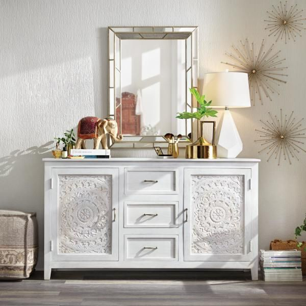 Home Decorators Collection Chennai 3 Drawer White Wash Dresser 9468000410 The Home Depot In 2020 White Wash Dresser White Washed Furniture Furniture