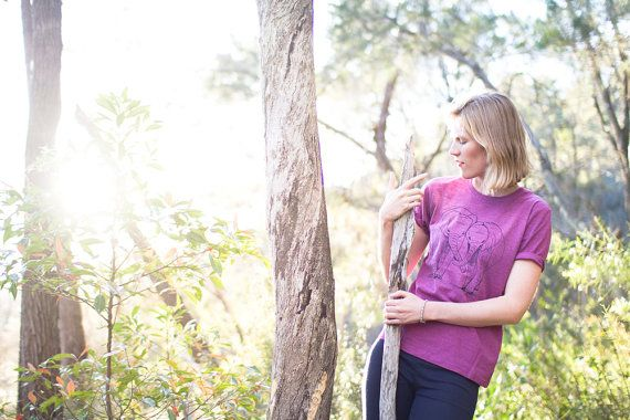 Eco Tshirt Plum Elephants 100 recycled organic by Cliffwatcher