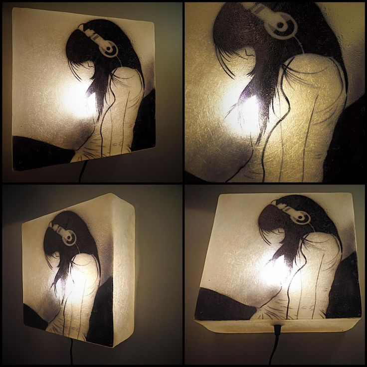 """""""Headphones"""" design - This lamp has a Natural White frame with the design being in black. To view more pics, cut and paste the following link: http://gshopspot.gr/product.php?product_id=621"""