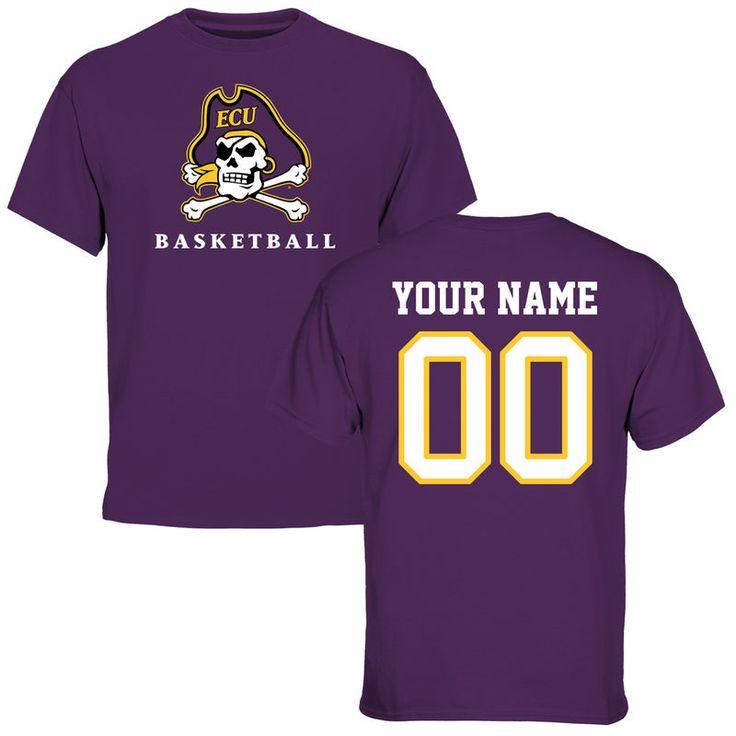 East Carolina Pirates Personalized Basketball T-Shirt - Purple