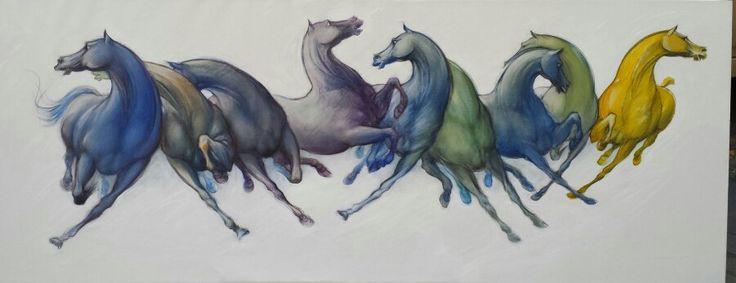 I campioni: Polidoxe, Titas, Delichatus ed altri sei, degli allevamenti Romani nel nord-Africa, (zona Sirte) olio su tela, mt. 1.80x0.70, aut. Roberto di JULLO - 2015