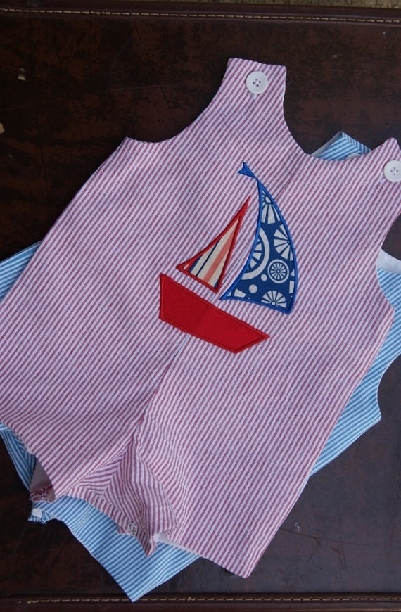 Baby Boys Spring Summer Nautical Appliqued Seersucker JonJon Shortall