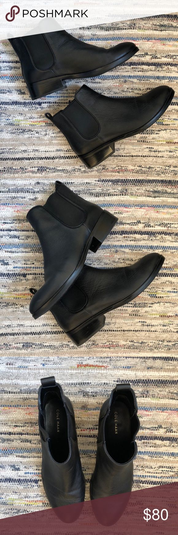 Cole Haan Landsman black leather Chelsea boots Cole Haan women's leather black Chelsea booties   Size 8   Never been worn!!   The mark on the back of the shoe is water (I wiped the shoes before taking a picture)   Amazing boots for spring and fall and are a staple city style   No trades Cole Haan Shoes Ankle Boots & Booties