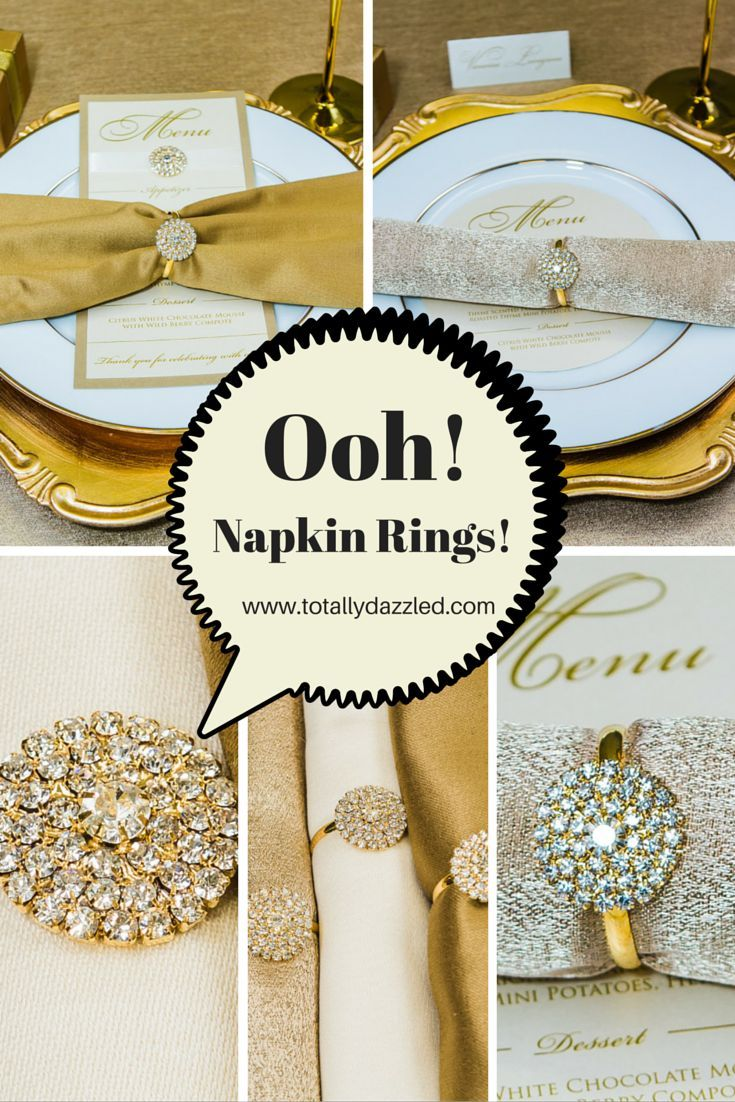 #rhinestone #wedding #napkinrings Check out these gorgeous gold napkin rings they are only $1.50 each at www.totallydazzled.com
