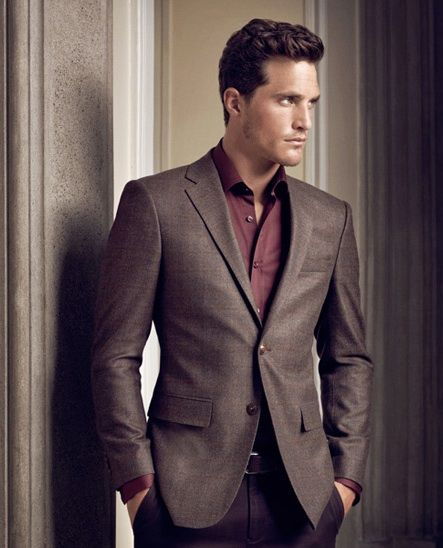 Wine Shirt And Brown Blazer All Man Should Wear Like