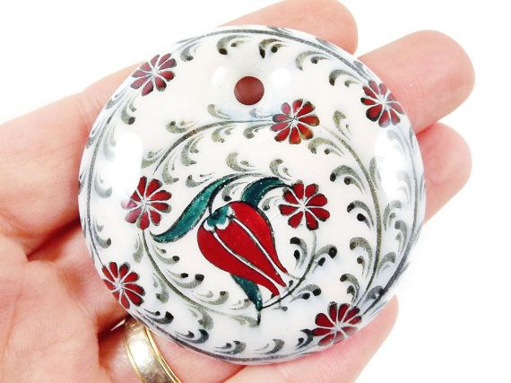 OOAK Large Hand painted Turkish Cini Ceramic by LylaSupplies, $12.50