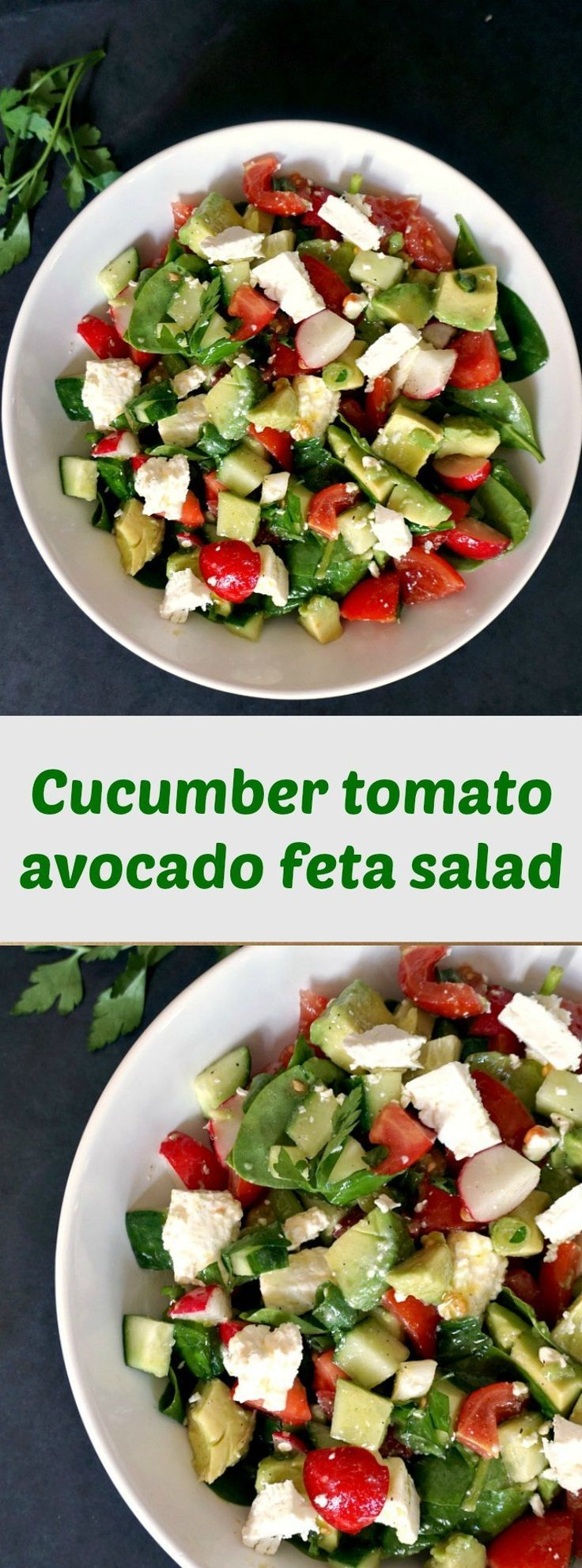 Cucumber tomato avocado feta salad, a healthy and nutritious salad to enjoy all summer long. It has the lightest and simplest 2-ingredient dressing. Such a delicious recipe!
