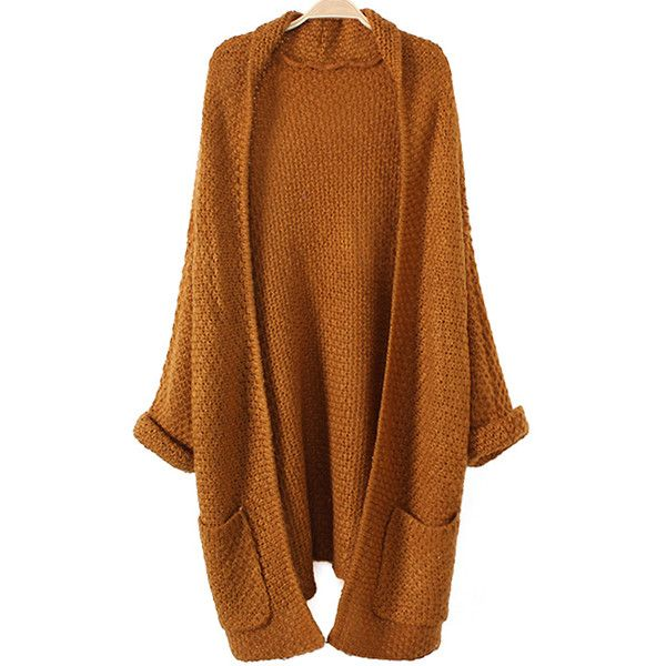 Rolled Cuff Pockets Long Cardigan (165 HRK) ❤ liked on Polyvore featuring tops, cardigans, brown cardigan, long cardigan, pocket tops, brown tops and pocket cardigan