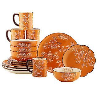 Temp-tations Hand Painted Stoneware 16-pc. Dinnerware Set  sc 1 st  Pinterest & 53 best Temptations Cookware images on Pinterest | Cookware Kitchen ...