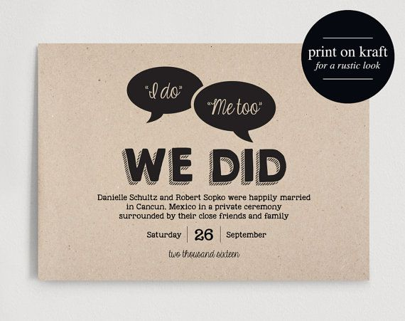 Just Married Wedding Announcement by BlissPaperBoutique || Broke-Ass Advice: Invitations vs. Announcements