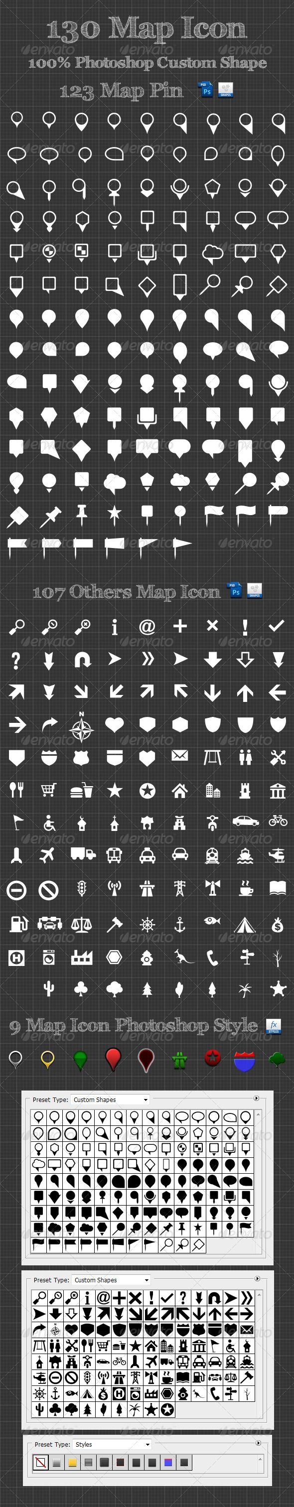 130 Map Icon Photoshop Custom Shapes - GraphicRiver Item for Sale