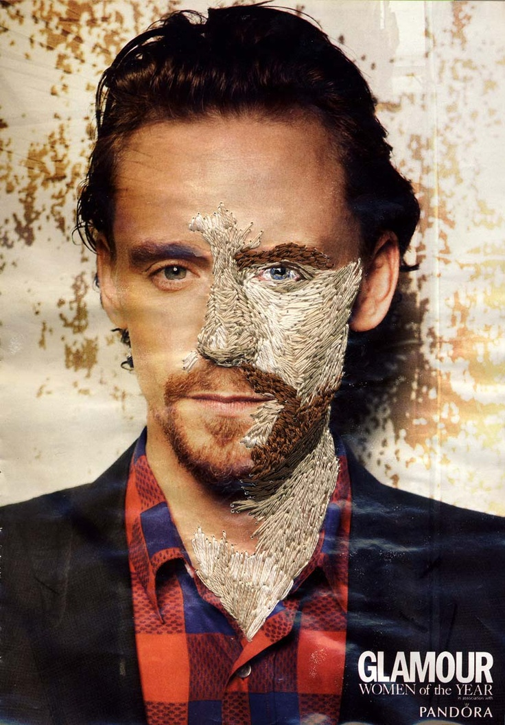 Tom Hiddleston photographed by Max Vadukul, from Glamour Magazine UK and stitched over by Inge Jacobsen