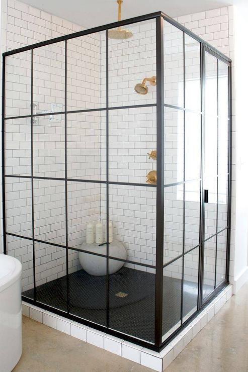 Corner steel shower enclosure