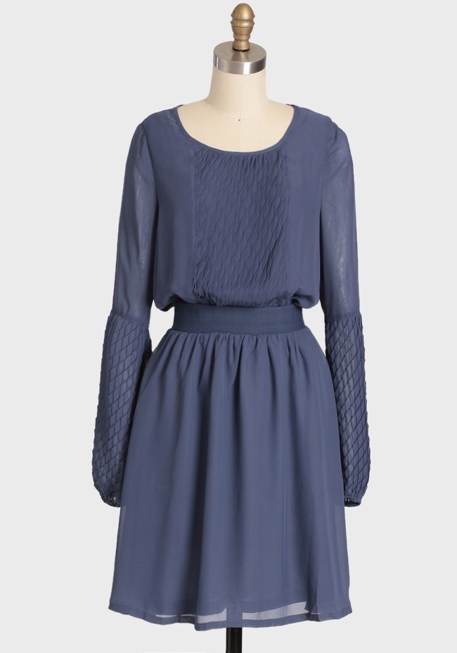Ruche Afternoon soiree pleated dress - I love the cross stitch or quilted effect of the long sleeves, the color is a perfectly calm but strong enough blue and the front with the waistline makes it feel very 1910 (sans the hemline, of course)