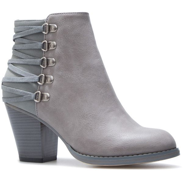 5f1530165 ShoeDazzle Booties Landy Womens Gray ❤ liked on Polyvore featuring shoes,  boots, ankle booties, botas, heels, booties, grey, grey …