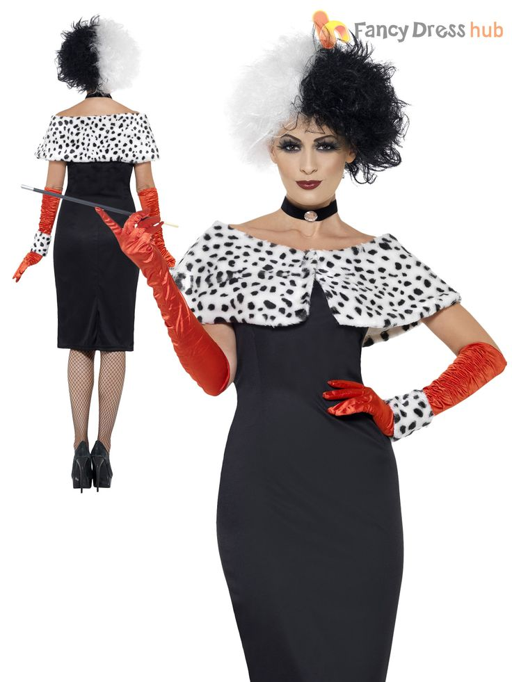 Ladies Cruella Deville Costume Black White WIG Ladies Fancy Dress ...                                                                                                                                                                                 More